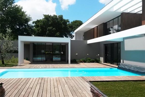 Agencement extérieur, terrasse bois, pergola, baie vitrée à langon ...